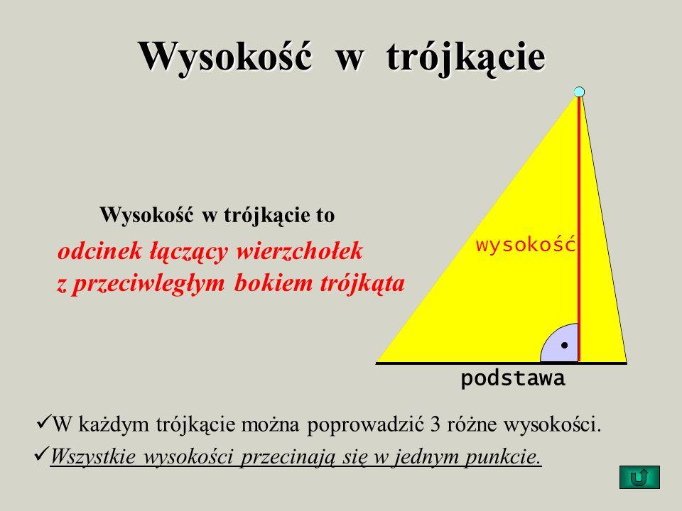 Kąty w trójkącie Suma kątów w trójkącie jest równa kątowi półpełnemu. 0