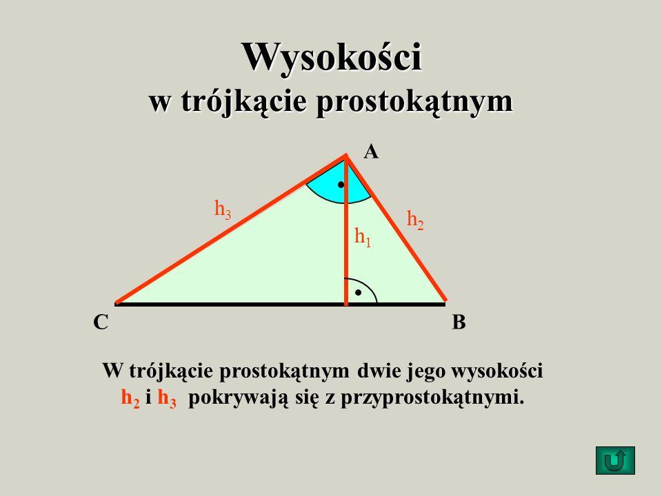 Wysokości w trójkącie ostrokątnym AB C h1h1 h2h2 h3h3