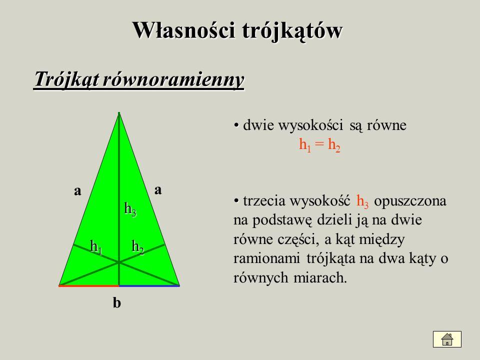 Wysokości w trójkącie rozwartokątnym A B C W trójkącie rozwartokątnym dwie jego wysokości h 2 i h 3 znajdują się poza trójkątem. h1h1 h2h2 h3h3