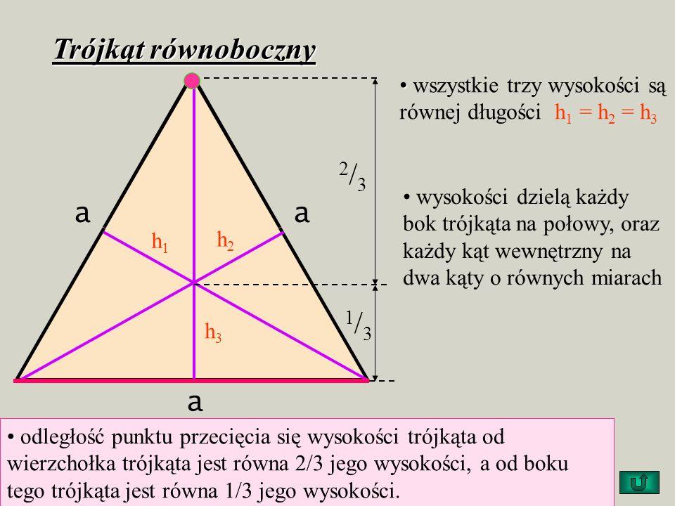 Własności trójkątów Trójkąt równoramienny dwie wysokości są równe h 1 = h 2 trzecia wysokość h 3 opuszczona na podstawę dzieli ją na dwie równe części