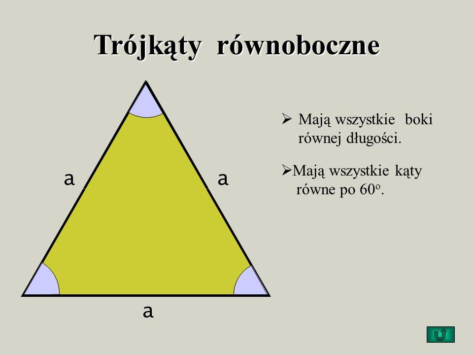 Trójkąty równoboczne a aa Mają wszystkie boki równej długości. Mają wszystkie kąty równe po 60 o.