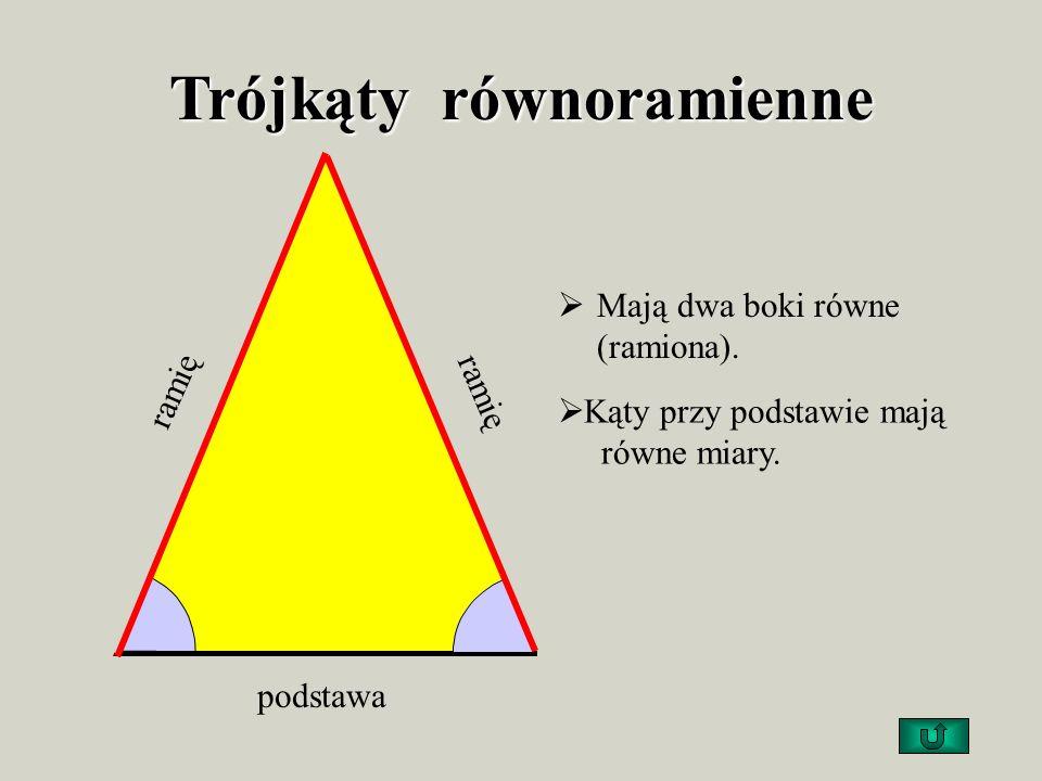 Trójkąty równoramienne Mają dwa boki równe (ramiona).