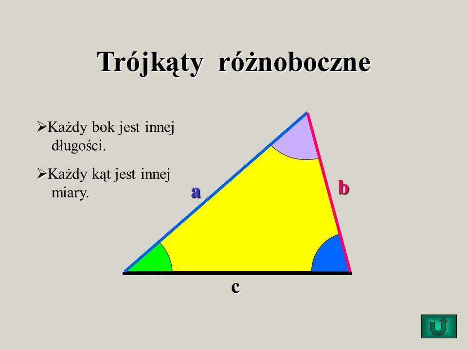Trójkąty równoramienne Mają dwa boki równe (ramiona). podstawa ramię Kąty przy podstawie mają równe miary.