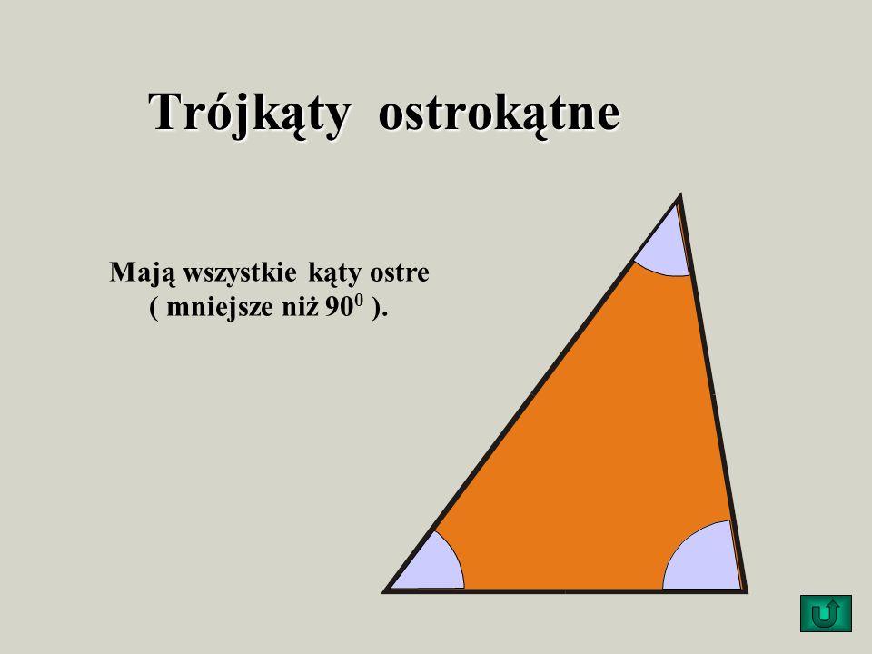 Trójkąty ostrokątne Mają wszystkie kąty ostre ( mniejsze niż 90 0 ).