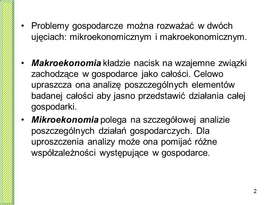 2 Problemy gospodarcze można rozważać w dwóch ujęciach: mikroekonomicznym i makroekonomicznym. Makroekonomia kładzie nacisk na wzajemne związki zachod