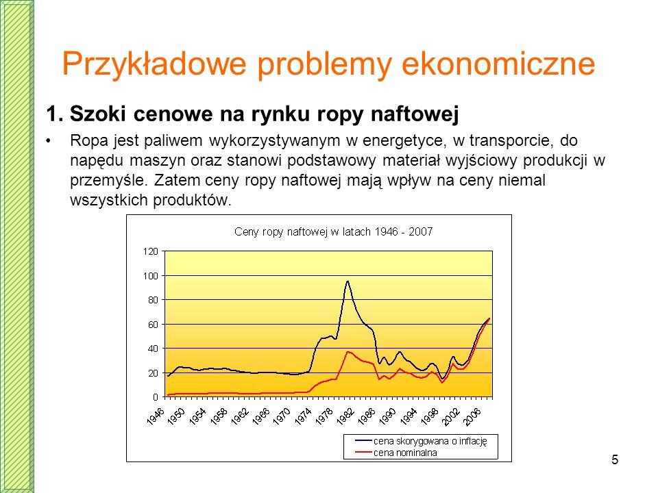 5 Przykładowe problemy ekonomiczne 1. Szoki cenowe na rynku ropy naftowej Ropa jest paliwem wykorzystywanym w energetyce, w transporcie, do napędu mas