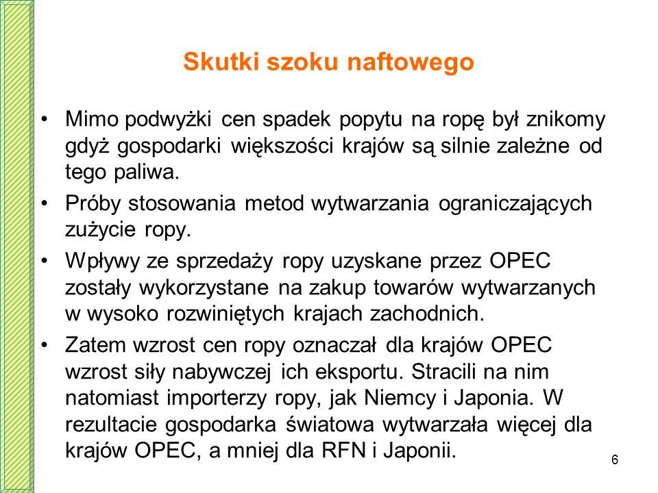 6 Skutki szoku naftowego Mimo podwyżki cen spadek popytu na ropę był znikomy gdyż gospodarki większości krajów są silnie zależne od tego paliwa. Próby