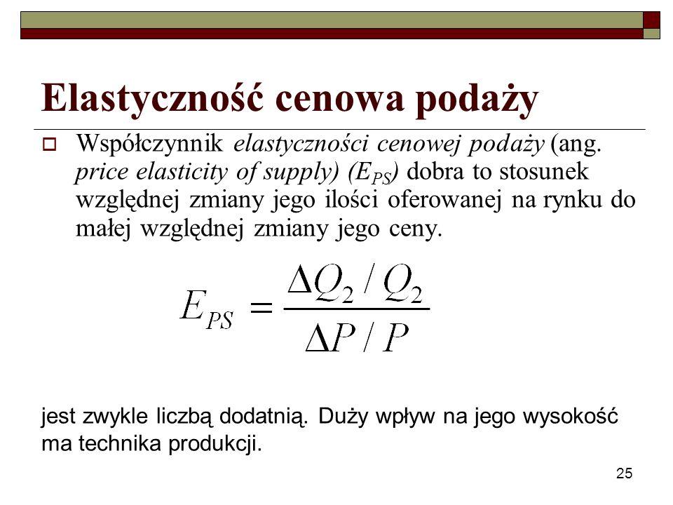 25 Elastyczność cenowa podaży Współczynnik elastyczności cenowej podaży (ang. price elasticity of supply) (E PS ) dobra to stosunek względnej zmiany j