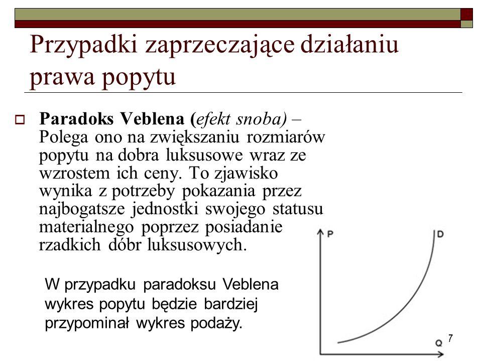 7 Przypadki zaprzeczające działaniu prawa popytu Paradoks Veblena (efekt snoba) – Polega ono na zwiększaniu rozmiarów popytu na dobra luksusowe wraz z