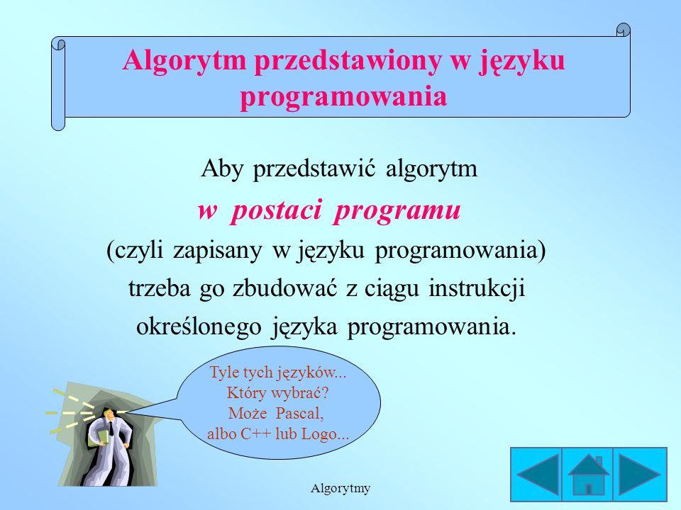 Algorytmy Skrzynka WE/WY (wejścia/wyjścia) jest równoległobokiem, w którym umieszcza się dane lub wyniki. Schemat blokowy Wprowadź (a)