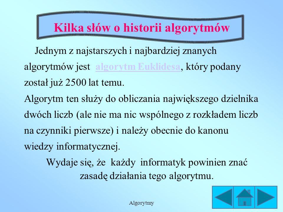 Algorytmy Kilka słów o historii algorytmów Jednym z najstarszych i najbardziej znanych algorytmów jest algorytm Euklidesa, który podanyalgorytm Euklidesa został już 2500 lat temu.