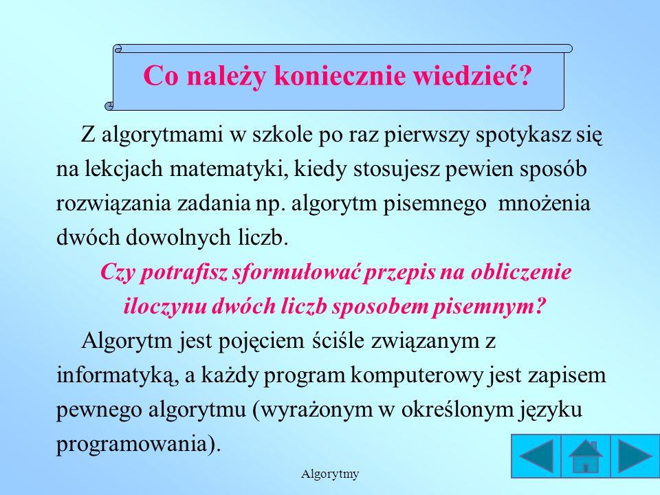 Algorytmy Skrzynka WE/WY (wejścia/wyjścia) jest równoległobokiem, w którym umieszcza się dane lub wyniki.