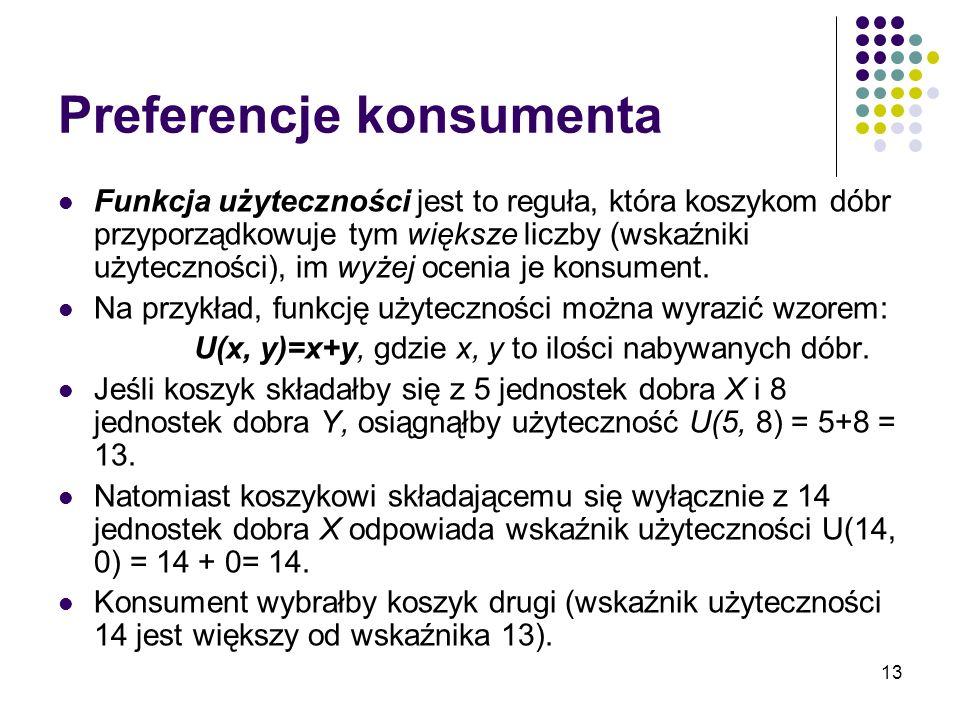 13 Preferencje konsumenta Funkcja użyteczności jest to reguła, która koszykom dóbr przyporządkowuje tym większe liczby (wskaźniki użyteczności), im wy