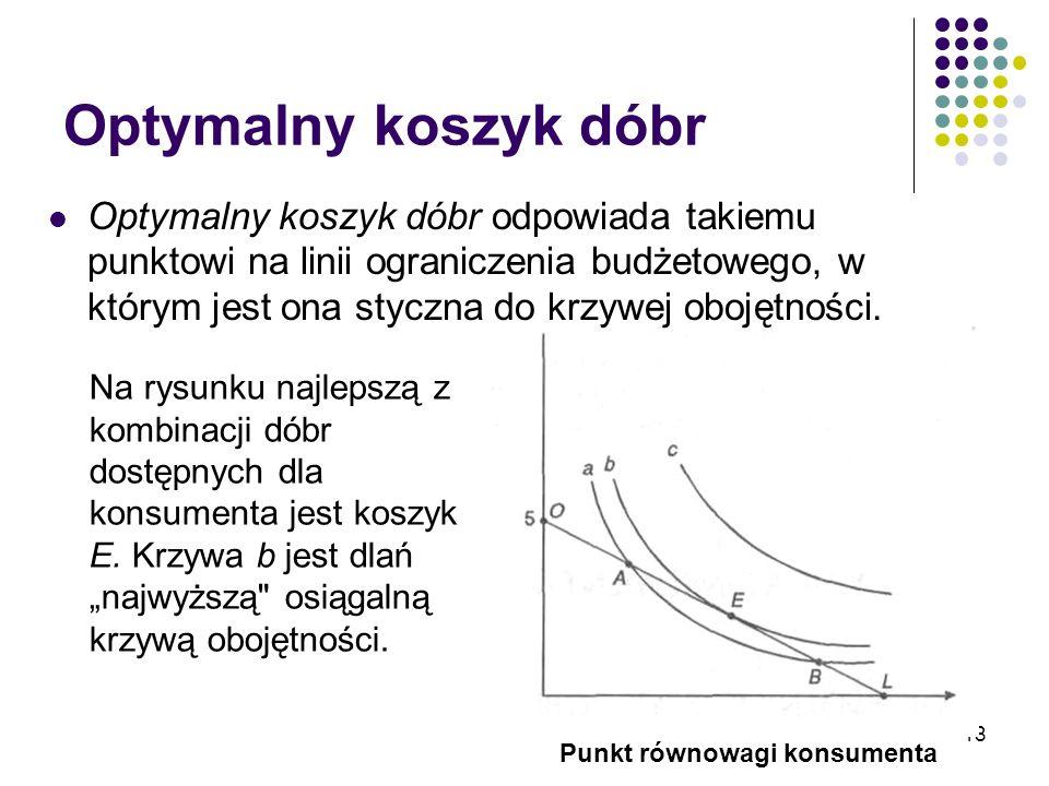 18 Optymalny koszyk dóbr Optymalny koszyk dóbr odpowiada takiemu punktowi na linii ograniczenia budżetowego, w którym jest ona styczna do krzywej oboj