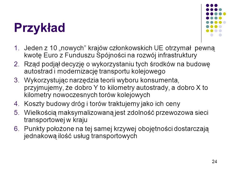 24 Przykład 1.Jeden z 10 nowych krajów członkowskich UE otrzymał pewną kwotę Euro z Funduszu Spójności na rozwój infrastruktury 2.Rząd podjął decyzję