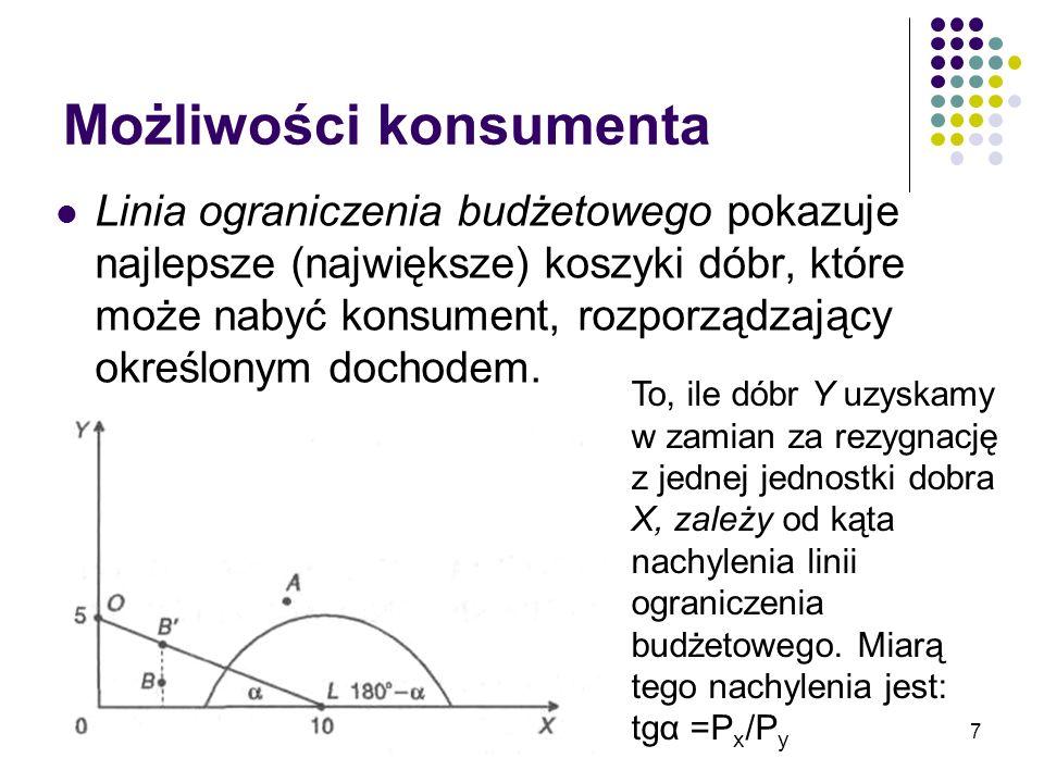 18 Optymalny koszyk dóbr Optymalny koszyk dóbr odpowiada takiemu punktowi na linii ograniczenia budżetowego, w którym jest ona styczna do krzywej obojętności.