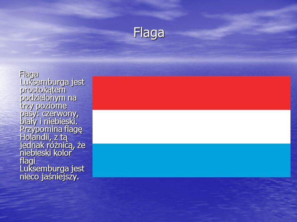Flaga Flaga Flaga Luksemburga jest prostokątem podzielonym na trzy poziome pasy: czerwony, biały i niebieski. Przypomina flagę Holandii, z tą jednak r