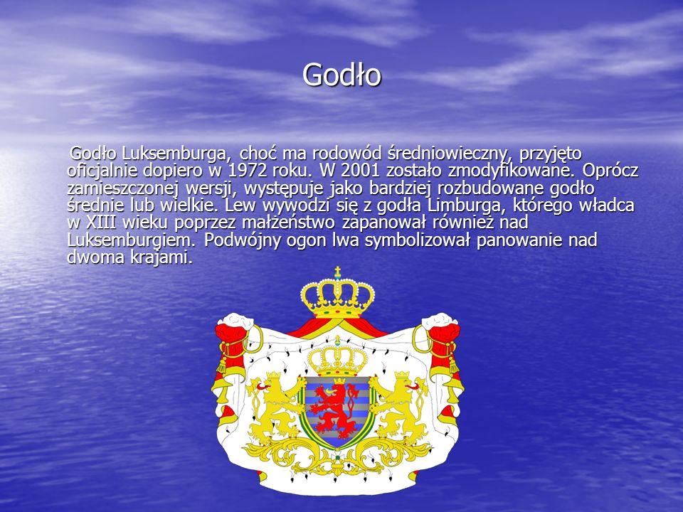 Godło Godło Luksemburga, choć ma rodowód średniowieczny, przyjęto oficjalnie dopiero w 1972 roku. W 2001 zostało zmodyfikowane. Oprócz zamieszczonej w