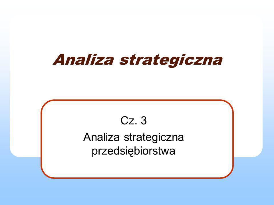 Analiza strategiczna firmy Podejścia do problematyki zarządzania strategicznego przedsiębiorstwa: klasyczne – źródłem sukcesu umiejętności dostosowania się do układu warunków zewnętrznych zasobowe – możliwości sukcesu tkwią w samym przedsiębiorstwie: środki materialne (kapitał, nieruchomości, technologie), niematerialne (kadra, kwalifikacje, reputacja firmy, sprawność struktur i procedur).