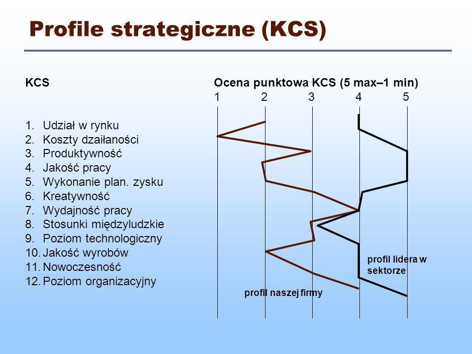 Pozycja konkurencyjna firmy (KCS) Sumaryczna ocenaLata KCS20002001200220032004 1.60 – 49 2.48 – 37 3.36 – 25 4.24 – 13 5.12 – 1 (12 czynników x 5 pkt = 60 pkt max) pozycja naszej firmy pozycja lidera w sektorze