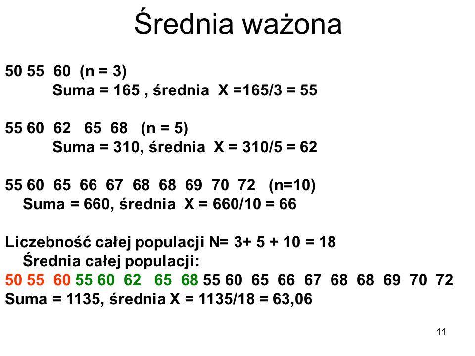 11 Średnia ważona 50 55 60 (n = 3) Suma = 165, średnia X =165/3 = 55 55 60 62 65 68 (n = 5) Suma = 310, średnia X = 310/5 = 62 55 60 65 66 67 68 68 69