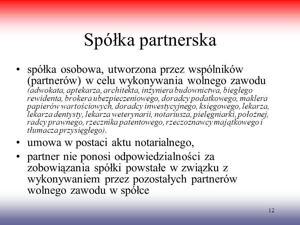 12 Spółka partnerska spółka osobowa, utworzona przez wspólników (partnerów) w celu wykonywania wolnego zawodu (adwokata, aptekarza, architekta, inżyni