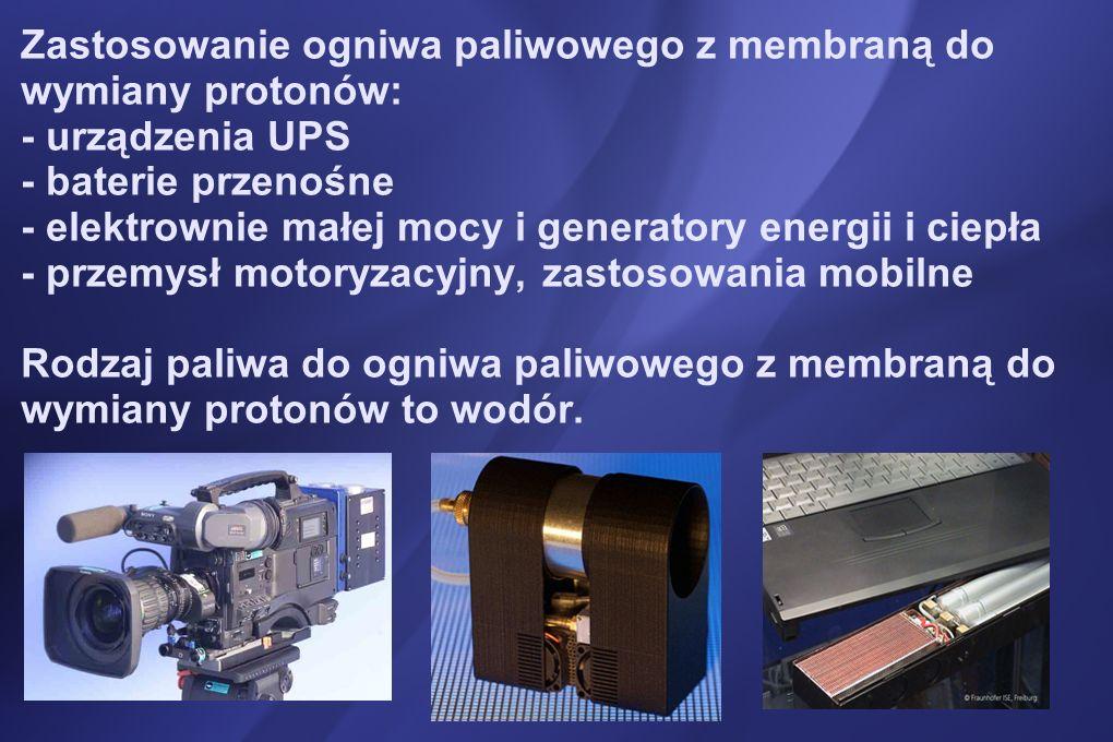 Zastosowanie ogniwa paliwowego z membraną do wymiany protonów: - urządzenia UPS - baterie przenośne - elektrownie małej mocy i generatory energii i ciepła - przemysł motoryzacyjny, zastosowania mobilne Rodzaj paliwa do ogniwa paliwowego z membraną do wymiany protonów to wodór.