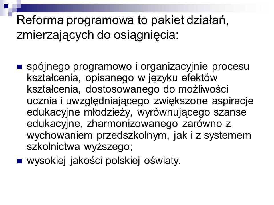 Reforma programowa to pakiet działań, zmierzających do osiągnięcia: spójnego programowo i organizacyjnie procesu kształcenia, opisanego w języku efekt