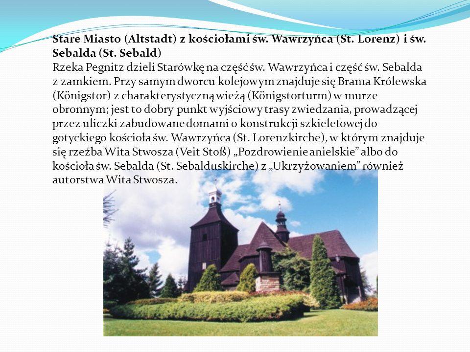Stare Miasto (Altstadt) z kościołami św. Wawrzyńca (St. Lorenz) i św. Sebalda (St. Sebald) Rzeka Pegnitz dzieli Starówkę na część św. Wawrzyńca i częś
