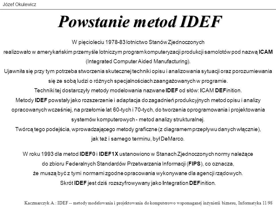 Józef Okulewicz Powstanie metod IDEF W pięcioleciu 1978-83 lotnictwo Stanów Zjednoczonych realizowało w amerykańskim przemyśle lotniczym program kompu