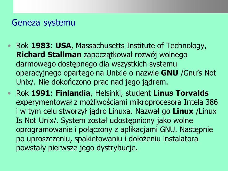 Wiadomości ogólne o systemie Linux jest ogólnodostępnym, bezpłatnym systemem operacyjnym opartym na filozofii sieciowych systemów Unixowych. Jest dosk