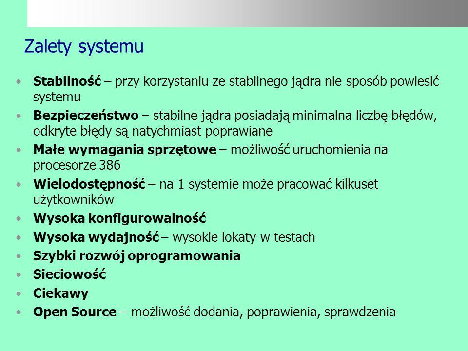 Podstawowe właściwości systemu Wielodostępność /możliwość jednoczesnej pracy wielu użytkowników/ Wielozadaniowość /możliwość uruchomienia niezależnych