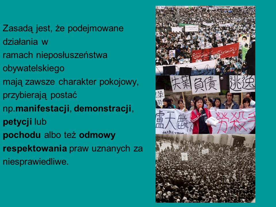 Zasadą jest, że podejmowane działania w ramach nieposłuszeństwa obywatelskiego mają zawsze charakter pokojowy, przybierają postać np.manifestacji, dem