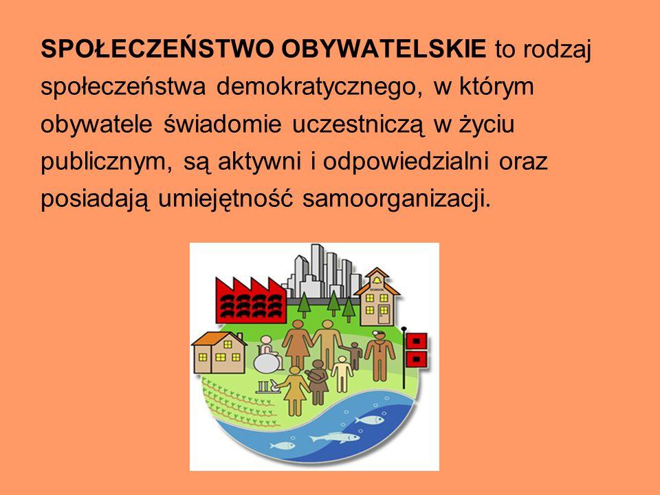 SPOŁECZEŃSTWO OBYWATELSKIE to rodzaj społeczeństwa demokratycznego, w którym obywatele świadomie uczestniczą w życiu publicznym, są aktywni i odpowied