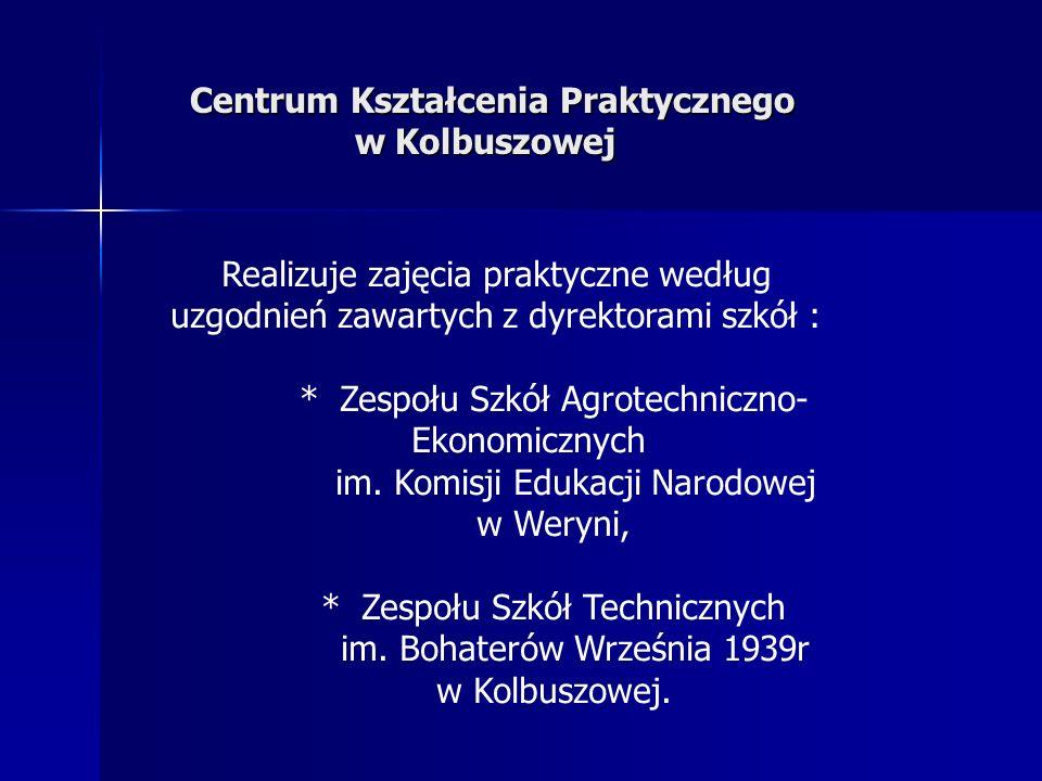 Centrum Kształcenia Praktycznego w Kolbuszowej Centrum Kształcenia Praktycznego w Kolbuszowej Realizuje zajęcia praktyczne według uzgodnień zawartych