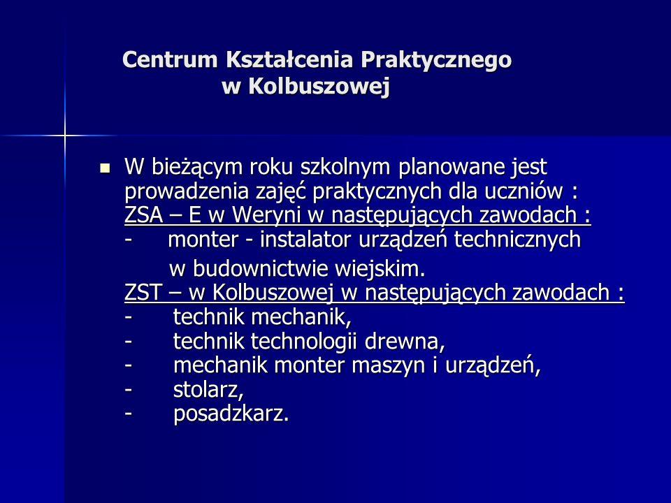 W bieżącym roku szkolnym planowane jest prowadzenia zajęć praktycznych dla uczniów : ZSA – E w Weryni w następujących zawodach : - monter - instalator