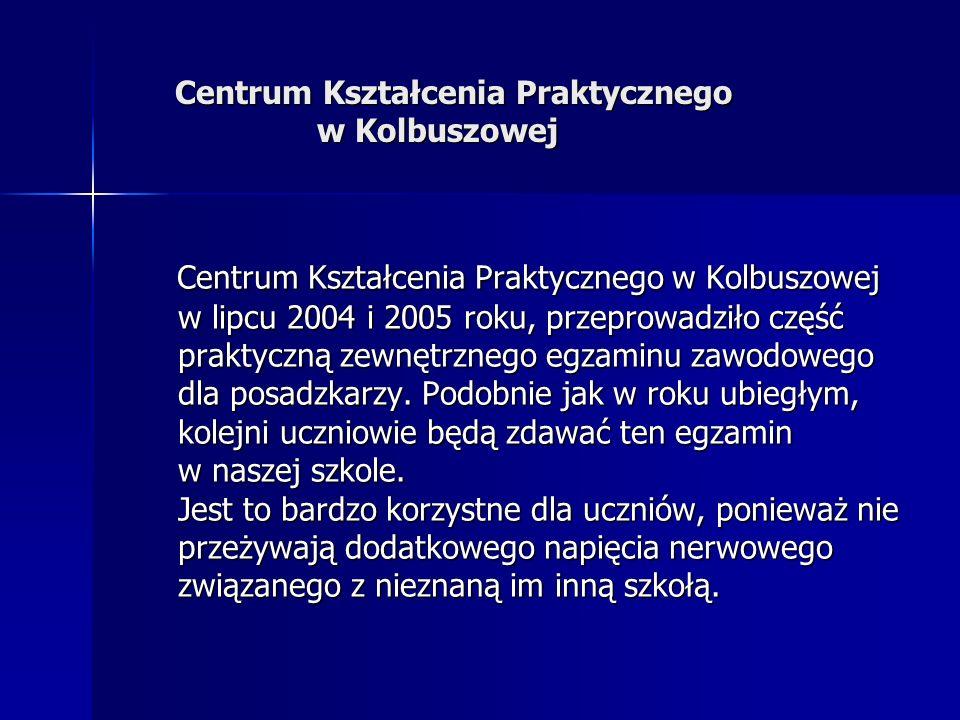 Centrum Kształcenia Praktycznego w Kolbuszowej w lipcu 2004 i 2005 roku, przeprowadziło część praktyczną zewnętrznego egzaminu zawodowego dla posadzka