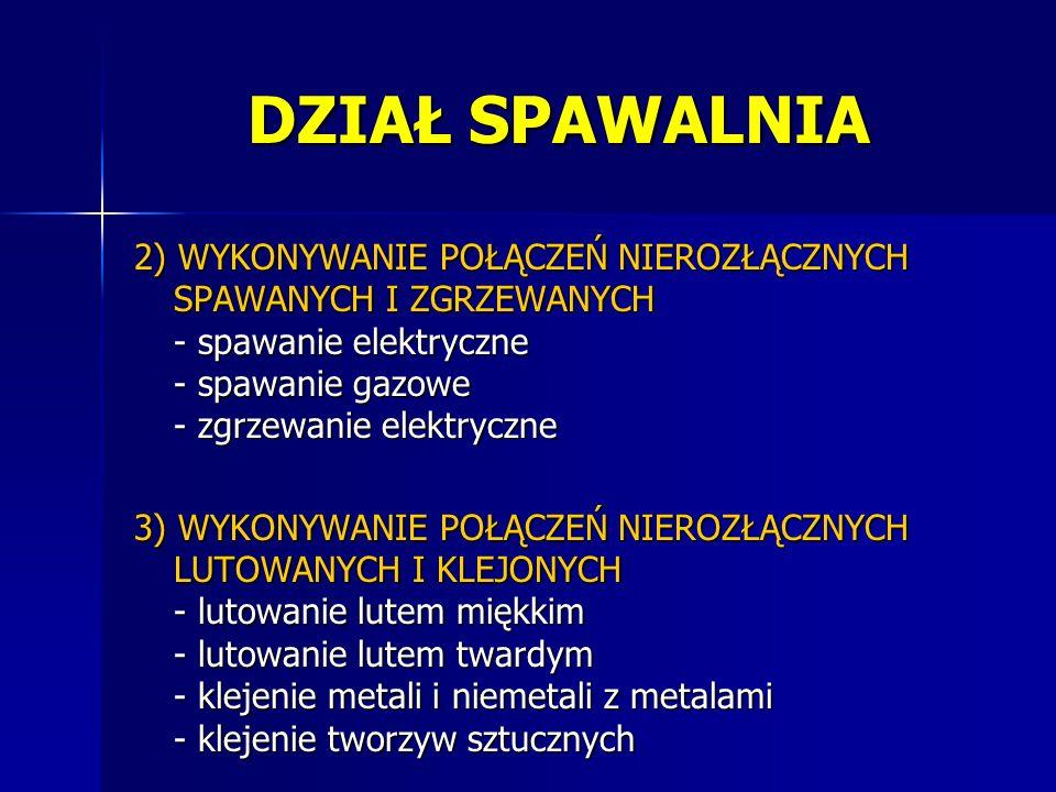 2) WYKONYWANIE POŁĄCZEŃ NIEROZŁĄCZNYCH SPAWANYCH I ZGRZEWANYCH - spawanie elektryczne - spawanie gazowe - zgrzewanie elektryczne 3) WYKONYWANIE POŁĄCZ