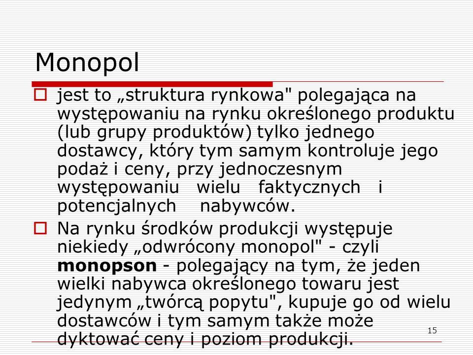 15 Monopol jest to struktura rynkowa