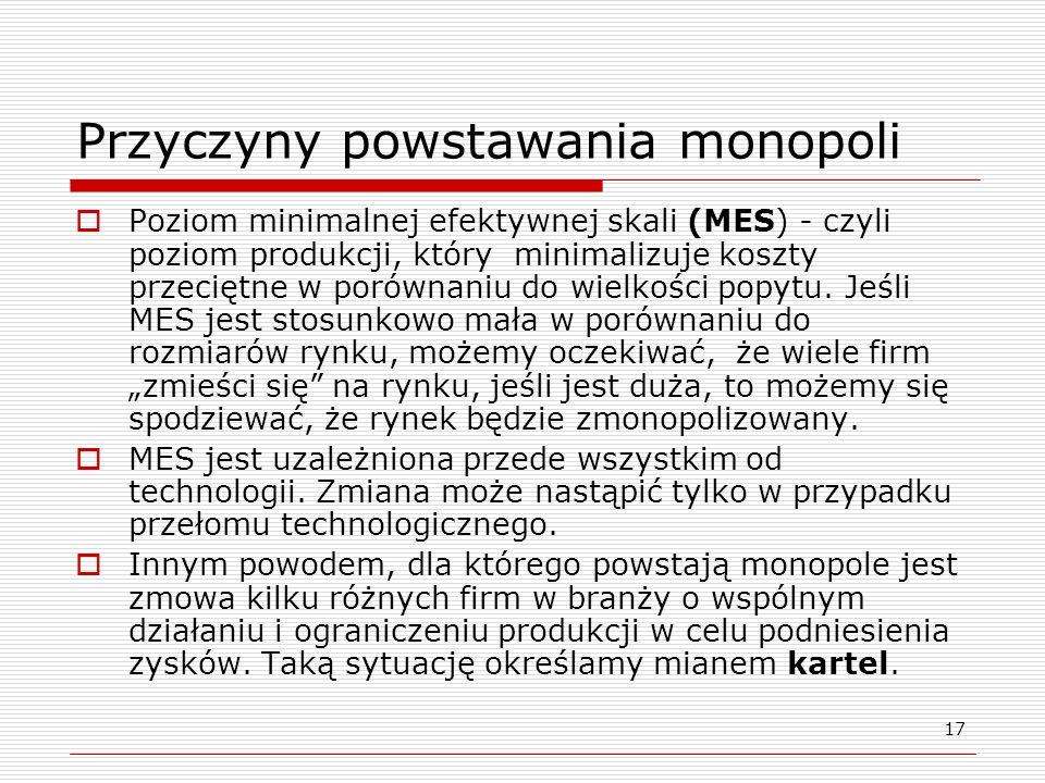 17 Przyczyny powstawania monopoli Poziom minimalnej efektywnej skali (MES) - czyli poziom produkcji, który minimalizuje koszty przeciętne w porównaniu
