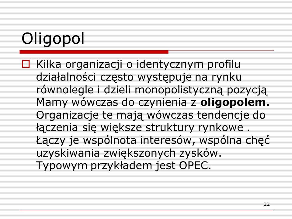 22 Oligopol Kilka organizacji o identycznym profilu działalności często występuje na rynku równolegle i dzieli monopolistyczną pozycją Mamy wówczas do
