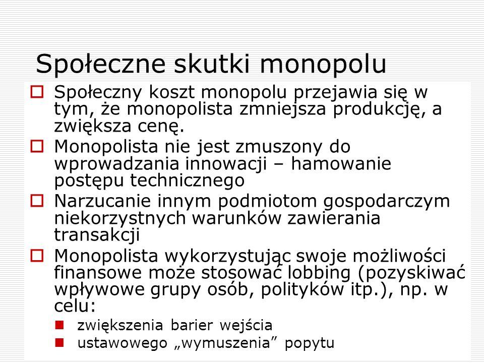 24 Społeczne skutki monopolu Społeczny koszt monopolu przejawia się w tym, że monopolista zmniejsza produkcję, a zwiększa cenę. Monopolista nie jest z