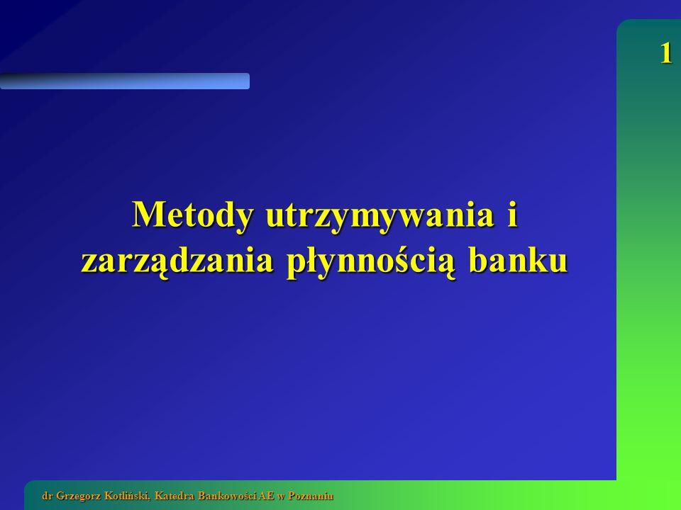 2 dr Grzegorz Kotliński, Katedra Bankowości AE w Poznaniu Płynność banku zdolność do wywiązywania się ze zobowiązań w krótkim i długim okresie zdolność do wywiązywania się ze zobowiązań w krótkim i długim okresie jest to także zdolność do niezakłóconego udzielania kredytów przy zapewnieniu odpowiednio niskiego poziomu ryzyka jest to także zdolność do niezakłóconego udzielania kredytów przy zapewnieniu odpowiednio niskiego poziomu ryzyka banki są zobowiązane do utrzymywania płynności przepisami Ustawy Prawo bankowe: banki są zobowiązane do utrzymywania płynności przepisami Ustawy Prawo bankowe: Art.