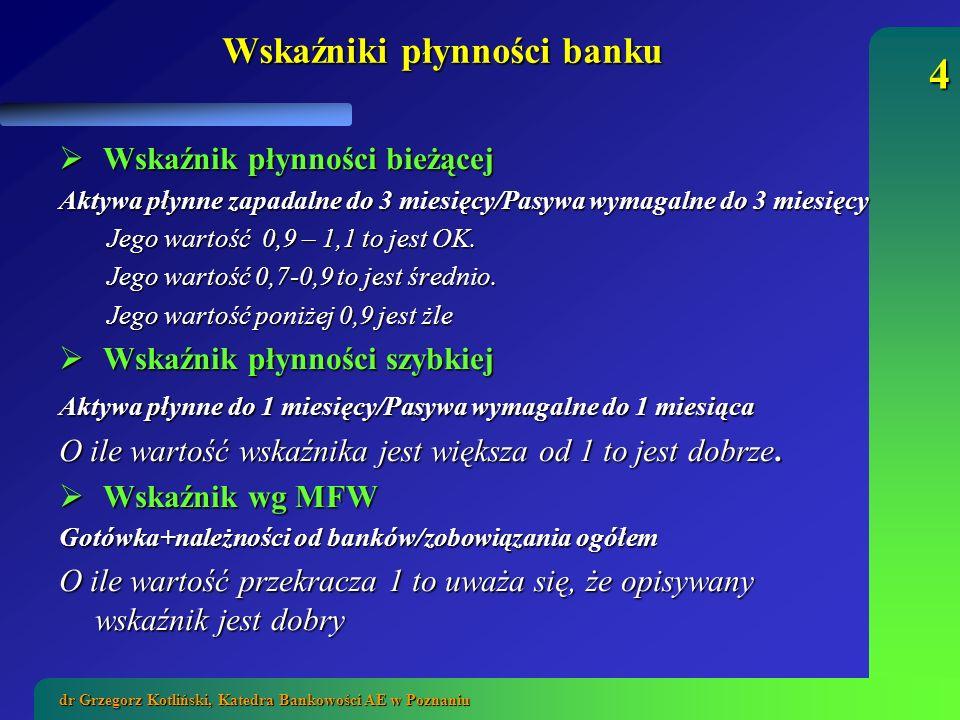 15 dr Grzegorz Kotliński, Katedra Bankowości AE w Poznaniu Metoda ta koncentruje się na roli pozyskiwanych zasobów finansowych w podtrzymywaniu lub zwiększaniu bazy aktywów.