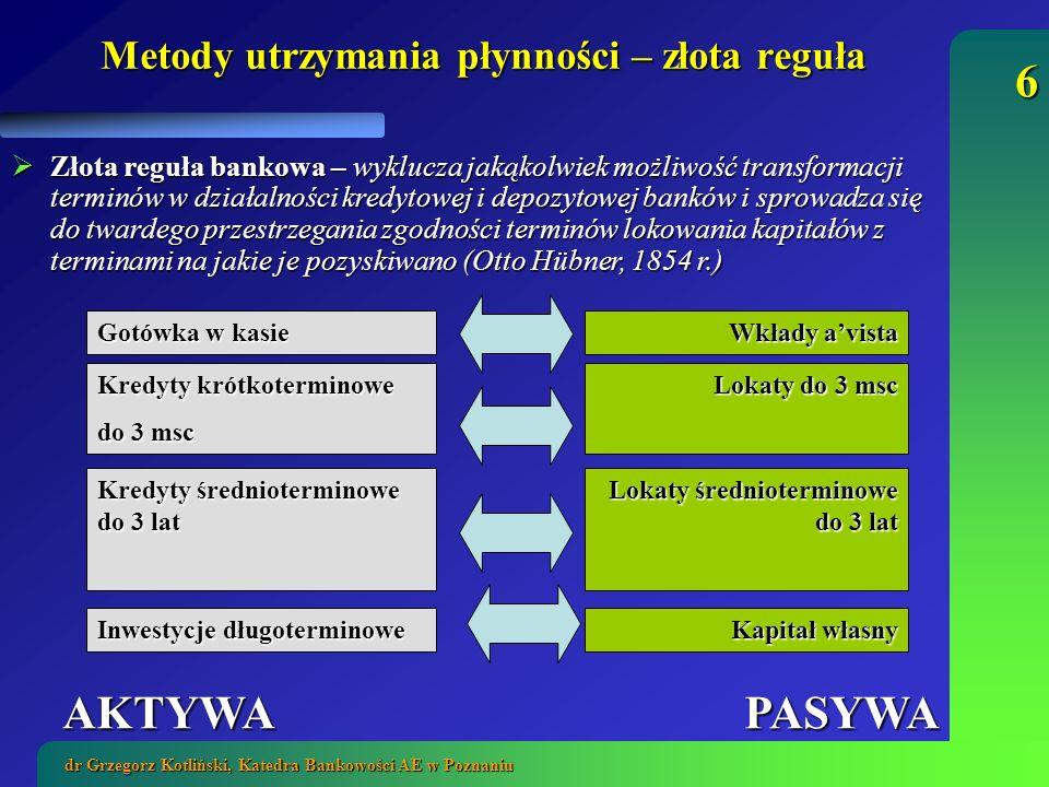 17 dr Grzegorz Kotliński, Katedra Bankowości AE w Poznaniu FINANSOWY PLAN PRZEPŁYWÓW ŚRODKÓW – BUDŻET BANKU 2.