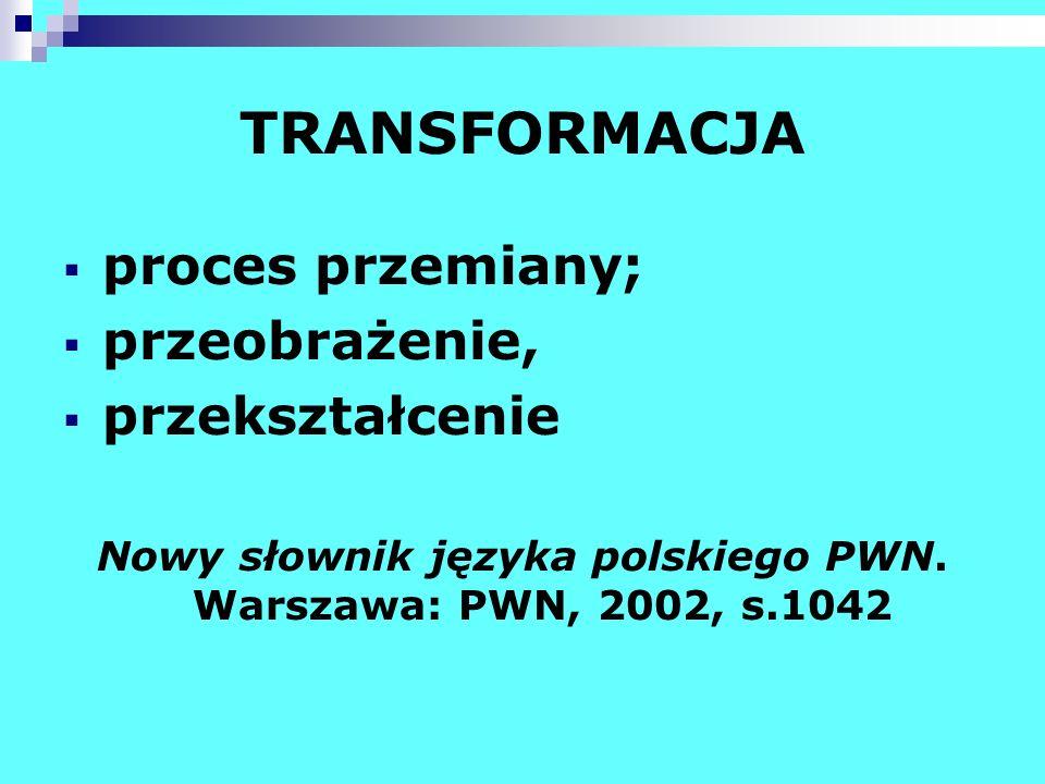 TRANSFORMACJA proces przemiany; przeobrażenie, przekształcenie Nowy słownik języka polskiego PWN. Warszawa: PWN, 2002, s.1042