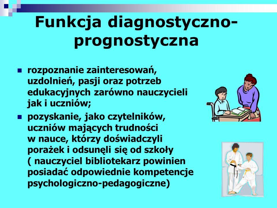 Funkcja diagnostyczno- prognostyczna rozpoznanie zainteresowań, uzdolnień, pasji oraz potrzeb edukacyjnych zarówno nauczycieli jak i uczniów; pozyskan
