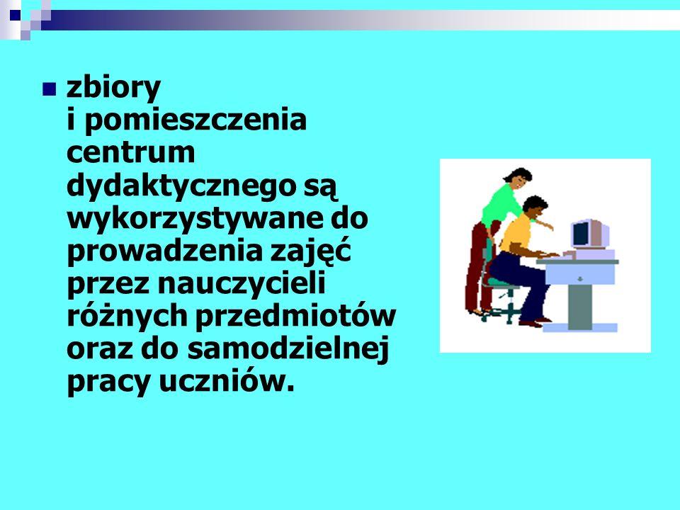 uczniowie i nauczyciele mają dostęp do wszystkich dokumentów: - zautomatyzowanego warsztatu informacyjnego biblioteki, - baz komputerowych innych bibliotek, - urządzeń powielających, - komputerów multimedialnych;