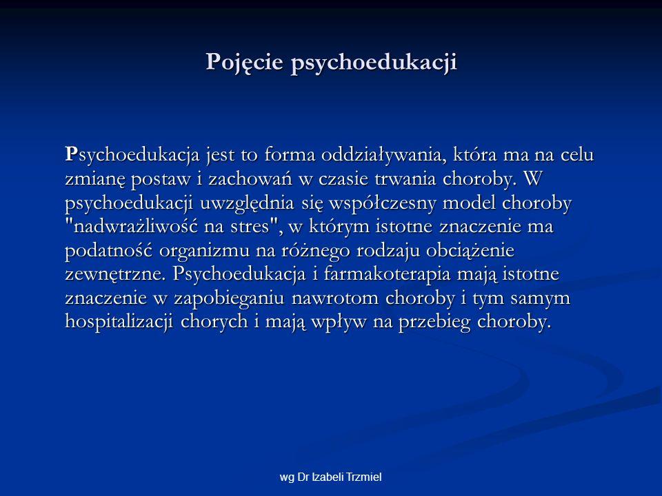 Cele i zadania psychoedukacji Mimo pewnych różnic w metodach psychoedukacyjnych podstawowym zadaniem psychoedukacji jest uczenie radzenia sobie z chorobą i zapobieganie nawrotom.