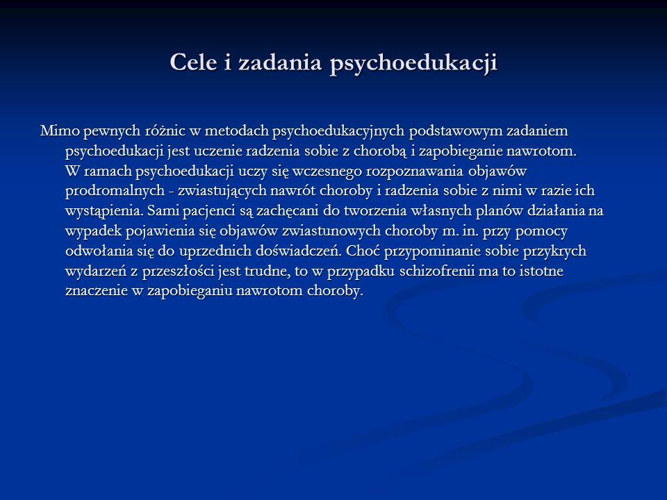 wg Mikołaj Majkowicz Miejsce psychoedukacji i terapii rodzin w systemie leczenia schizofrenii Cele psychoedukacji Uczenie radzenia sobie z chorobą Tworzenie własnych planów walki z chorobą Zapobieganie nawrotom Wczesne rozpoznanie objawów predromalnych